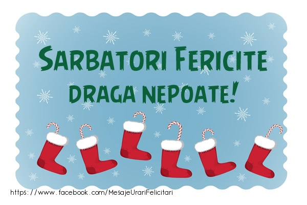 Felicitari de Craciun pentru Nepot - Sarbatori fericite draga nepoate!