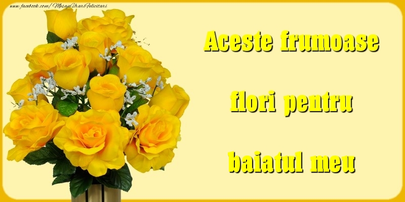 Felicitari Diverse pentru Baiat - Aceste frumoase flori pentru baiatul meu