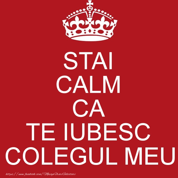 Felicitari de dragoste pentru Coleg - STAI CALM CA TE IUBESC colegul meu!