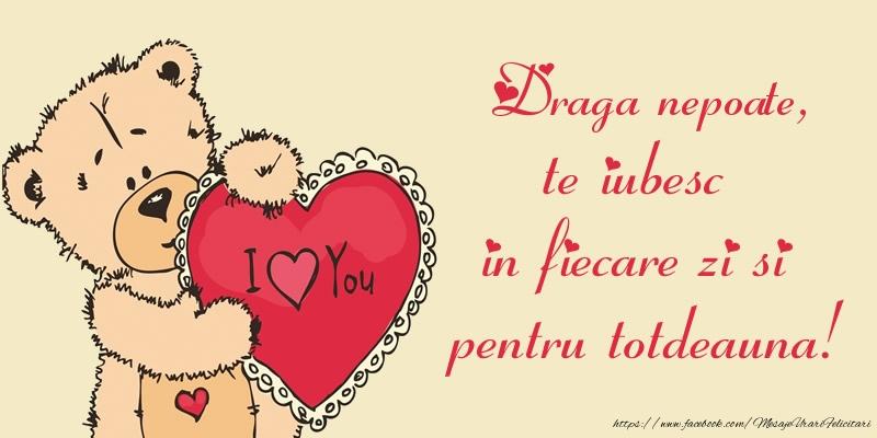 Felicitari de dragoste pentru Nepot - Draga nepoate, te iubesc in fiecare zi si pentru totdeauna!