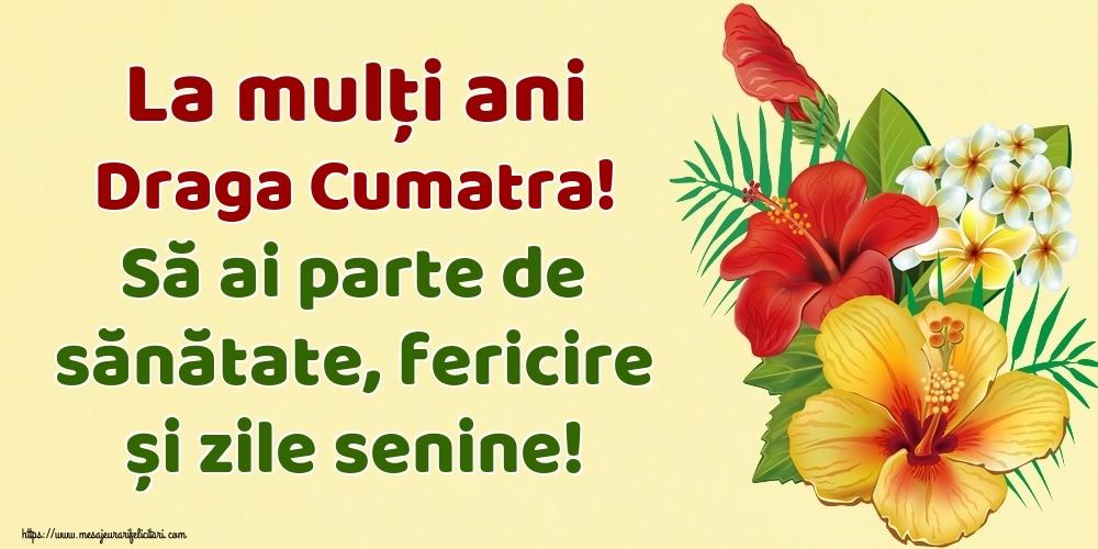 Felicitari de la multi ani pentru Cumatra - La mulți ani draga cumatra! Să ai parte de sănătate, fericire și zile senine!