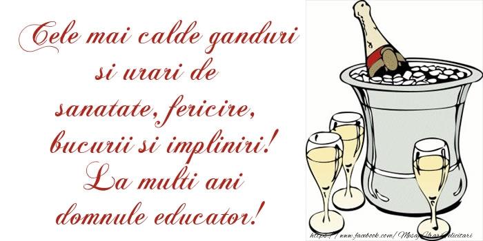 Felicitari de la multi ani pentru Educator - Cele mai calde ganduri si urari de sanatate, fericire, bucurii si impliniri! La multi ani domnule educator!