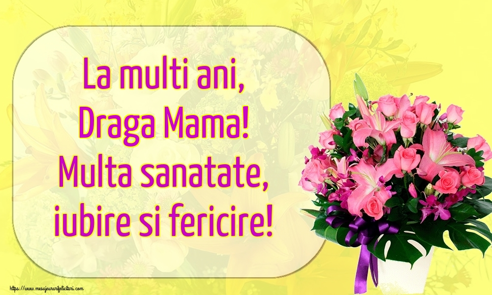 Felicitari de la multi ani pentru Mama - La multi ani, draga mama! Multa sanatate, iubire si fericire!