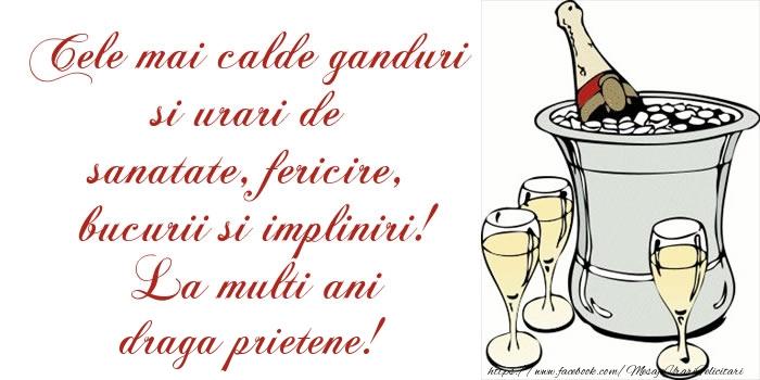 Felicitari de la multi ani pentru Prieten - Cele mai calde ganduri si urari de sanatate, fericire, bucurii si impliniri! La multi ani draga prietene!