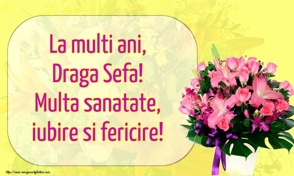 Felicitari de la multi ani pentru Sefa - La multi ani, draga sefa! Multa sanatate, iubire si fericire!
