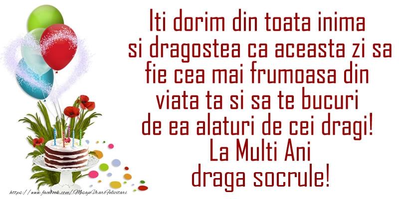 Felicitari de la multi ani pentru Socru - Iti dorim din toata inima si dragostea ca aceasta zi sa fie cea mai frumoasa din viata ta ... La Multi Ani draga socrule!