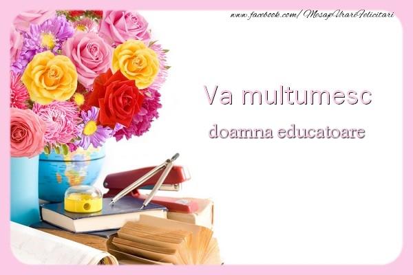 Felicitari de multumire pentru Educatoare - Va multumesc doamna educatoare