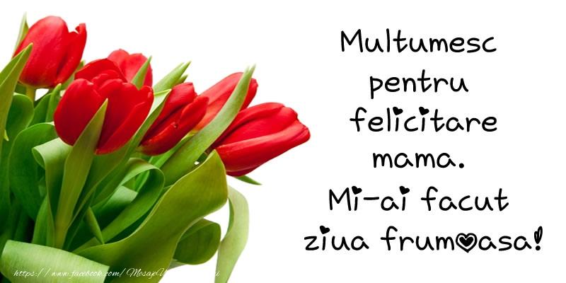 Felicitari de multumire pentru Mama - Multumesc pentru  felicitare mama! Mi-ai facut  ziua frumoasa!
