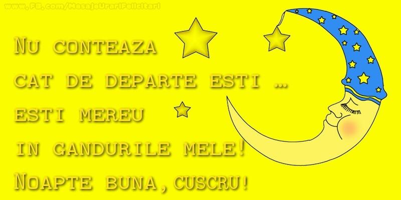 Felicitari de noapte buna pentru Cuscru - Nu conteaza  cat de departe esti …  esti mereu in  gandurile mele!  Noapte buna, cuscrule