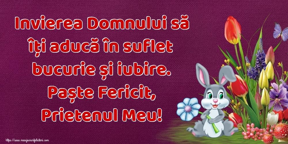 Felicitari de Paste pentru Prieten - Invierea Domnului să îți aducă în suflet bucurie și iubire. Paște Fericit, prietenul meu!