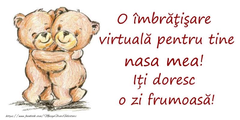 Felicitari de prietenie pentru Nasa - O îmbrăţişare virtuală pentru tine nasa mea. Iți doresc o zi frumoasă!