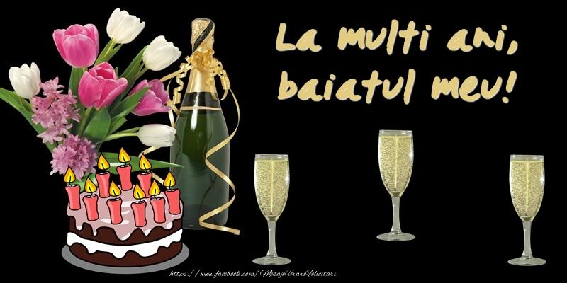 Felicitari de zi de nastere pentru Baiat - Felicitare cu tort, flori si sampanie: La multi ani, baiatul meu!