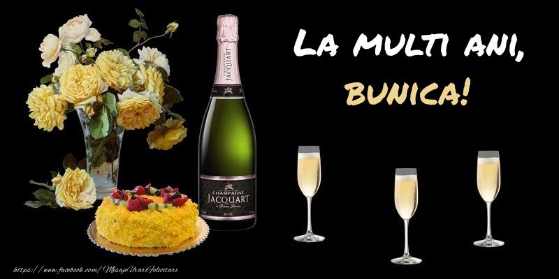 Felicitari de zi de nastere pentru Bunica - Felicitare cu sampanie, flori si tort: La multi ani, bunica!