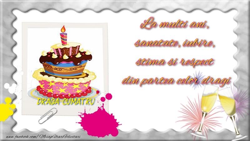 Felicitari de zi de nastere pentru Cumatru - Draga cumatru, La multi ani,  sanatate, iubire,  stima si respect  din partea celor dragi