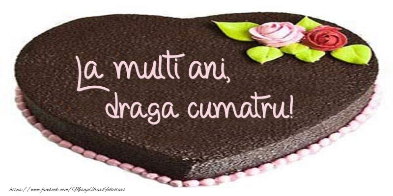 Felicitari de zi de nastere pentru Cumatru - La multi ani, draga cumatru! Tort in forma de inima