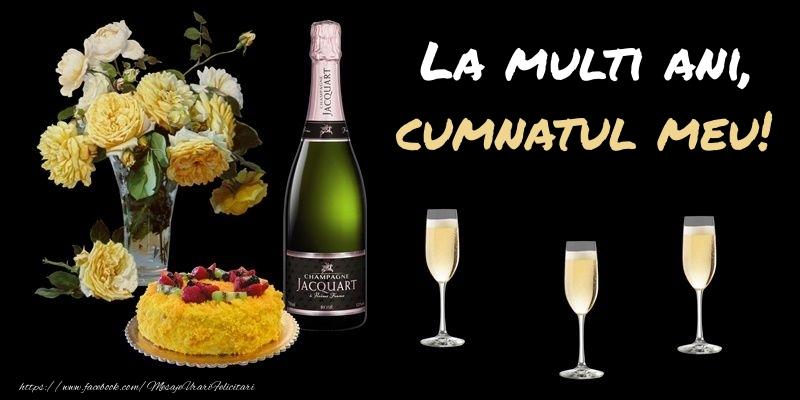 Felicitari de zi de nastere pentru Cumnat - Felicitare cu sampanie, flori si tort: La multi ani, cumnatul meu!