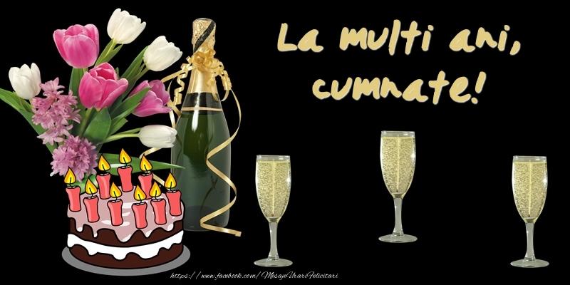 Felicitari de zi de nastere pentru Cumnat - Felicitare cu tort, flori si sampanie: La multi ani, cumnate!