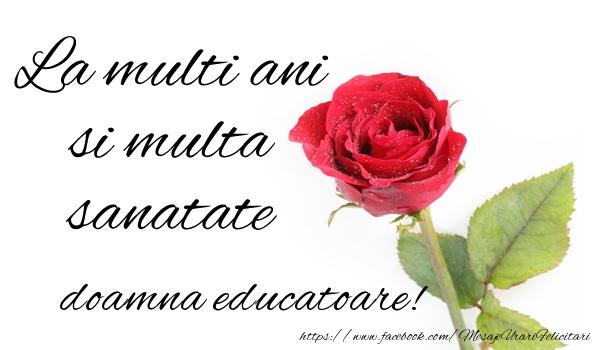 Felicitari de zi de nastere pentru Educatoare - La multi ani si multa sanatate doamna educatoare!