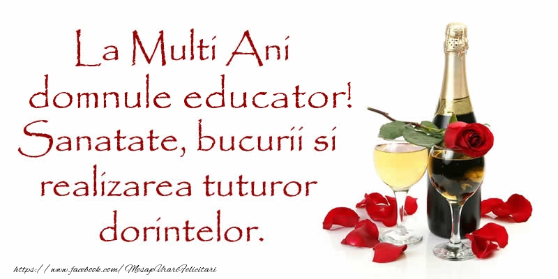 Felicitari de zi de nastere pentru Educator - La Multi Ani domnule educator! Sanatate, bucurii si realizarea tuturor dorintelor.