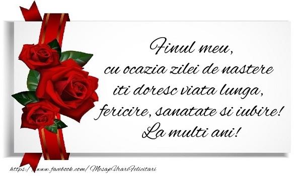 Felicitari de zi de nastere pentru Fin - Finule cu ocazia zilei de nastere iti doresc viata lunga, fericire, sanatate si iubire. La multi ani!