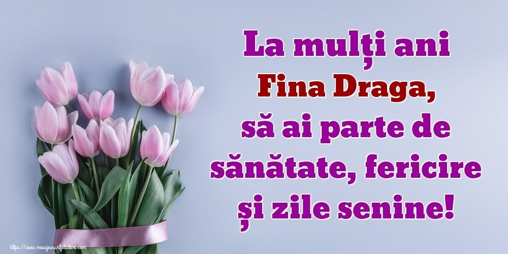 Felicitari de zi de nastere pentru Fina - La mulți ani fina draga, să ai parte de sănătate, fericire și zile senine!