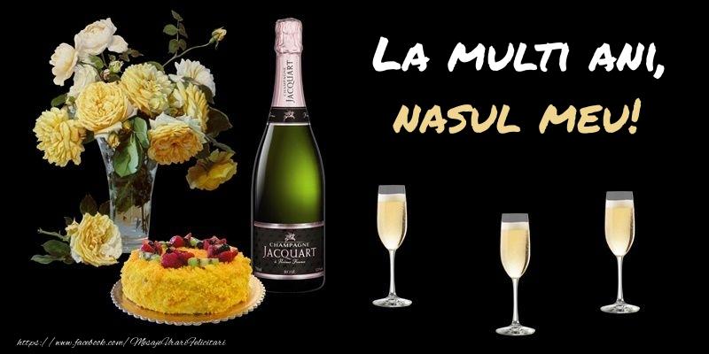 Felicitari de zi de nastere pentru Nas - Felicitare cu sampanie, flori si tort: La multi ani, nasul meu!