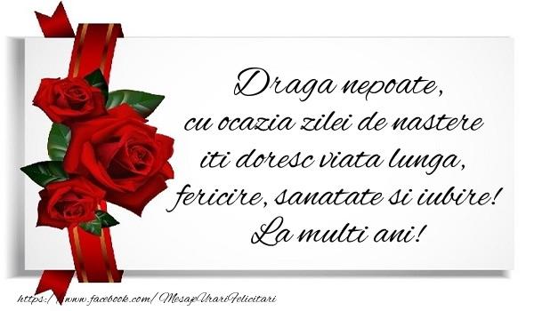 Felicitari de zi de nastere pentru Nepot - Draga nepoate cu ocazia zilei de nastere iti doresc viata lunga, fericire, sanatate si iubire. La multi ani!
