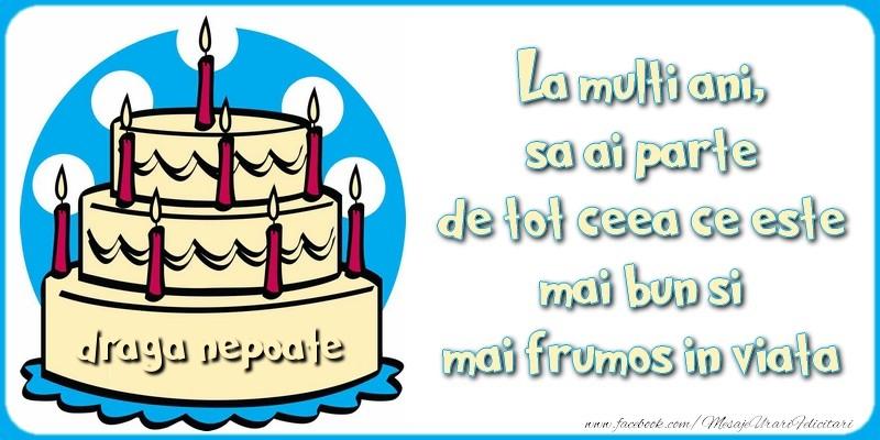 Felicitari de zi de nastere pentru Nepot - La multi ani, sa ai parte de tot ceea ce este mai bun si mai frumos in viata, draga nepoate