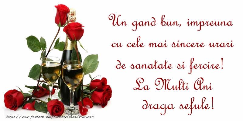 Felicitari de zi de nastere pentru Sef - Un gand bun, impreuna cu cele mai sincere urari de sanatate si fercire! La Multi Ani draga sefule!
