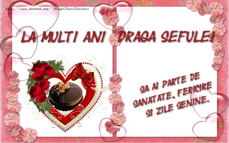 Felicitari de zi de nastere pentru Sef - La multi ani draga sefule, sa ai parte de sanatate, fericire si zile senine.