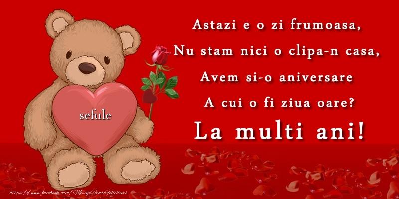 Felicitari de zi de nastere pentru Sef - Astazi e o zi frumoasa, Nu stam nici o clipa-n casa, Avem si-o aniversare A cui o fi ziua oare? La multi ani sefule!