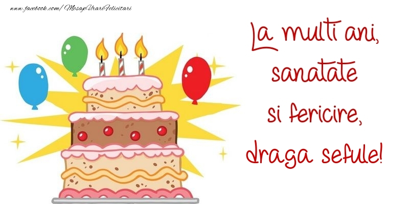 Felicitari de zi de nastere pentru Sef - La multi ani, sanatate si fericire, draga sefule
