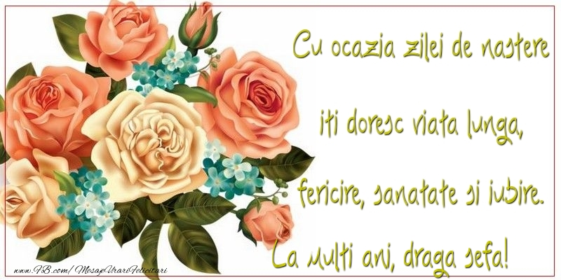 Felicitari de zi de nastere pentru Sefa - Cu ocazia zilei de nastere iti doresc viata lunga, fericire, sanatate si iubire. draga sefa