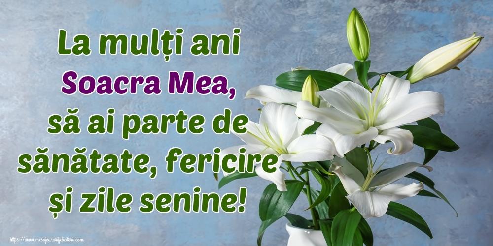 Felicitari de zi de nastere pentru Soacra - La mulți ani soacra mea, să ai parte de sănătate, fericire și zile senine!