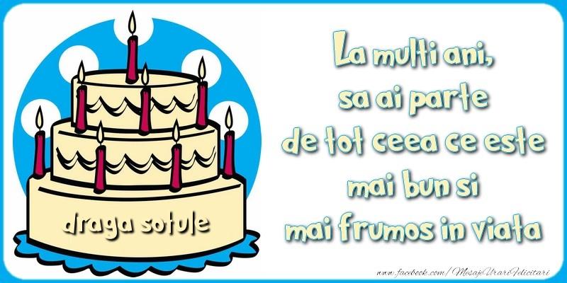 Felicitari de zi de nastere pentru Sot - La multi ani, sa ai parte de tot ceea ce este mai bun si mai frumos in viata, draga sotule