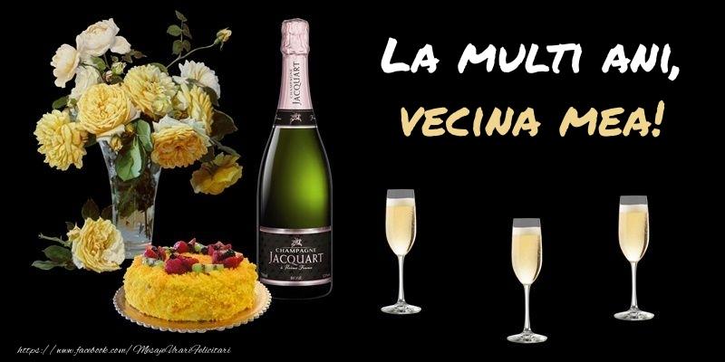 Felicitari de zi de nastere pentru Vecina - Felicitare cu sampanie, flori si tort: La multi ani, vecina mea!
