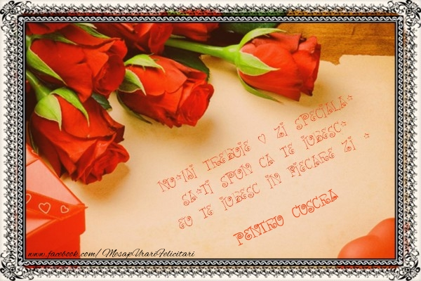 Felicitari Ziua indragostitilor pentru Cuscra - Nu-mi trebuie o zi speciala, sa-ti spun ca te iubesc. Eu te iubesc in fiecare zi ! pentru cuscra
