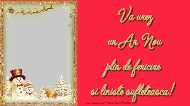 Felicitari personalizate de Anul Nou - Va urez un An Nou plin de fericire si liniste sufleteasca!