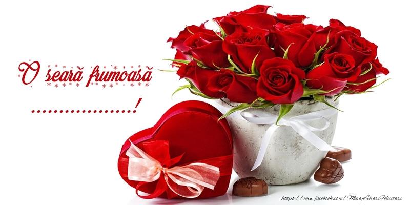 Felicitari personalizate de buna seara - Felicitare cu flori: O seară frumoasă ...!
