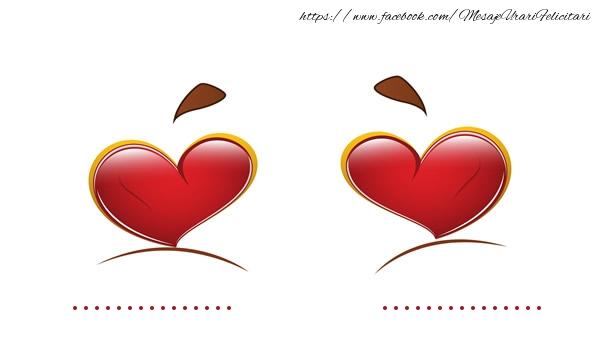 Felicitari personalizate de dragoste - ... + ... = LOVE