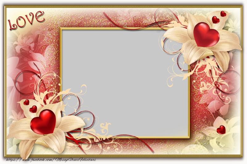 Felicitari personalizate de dragoste - Rama foto cu inimi