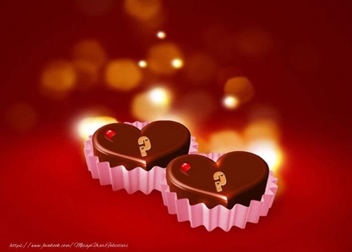 Felicitari personalizate cu Initialele Numelor - Initialele numelor pe bomboane de ciocolata in forma de inima