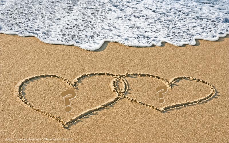 Felicitari personalizate cu Initialele Numelor - Initialele numelor pe doua inimi in nisip
