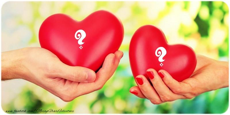 Felicitari personalizate cu Initialele Numelor - Doua inimi ... ...