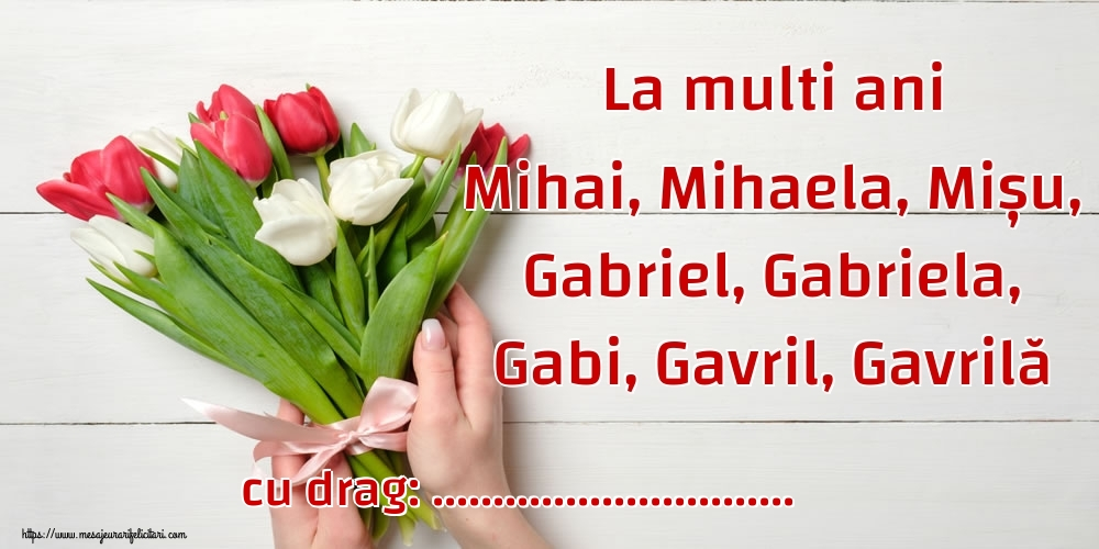 Felicitari personalizate de Sfintii Mihail si Gavril - La multi ani Mihai, Mihaela, Mișu, Gabriel, Gabriela, Gabi, Gavril, Gavrilă ...