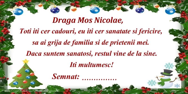 Felicitari personalizate de Mos Nicolae - Scrisoare catre Mos Nicolae ... semnat: ...!