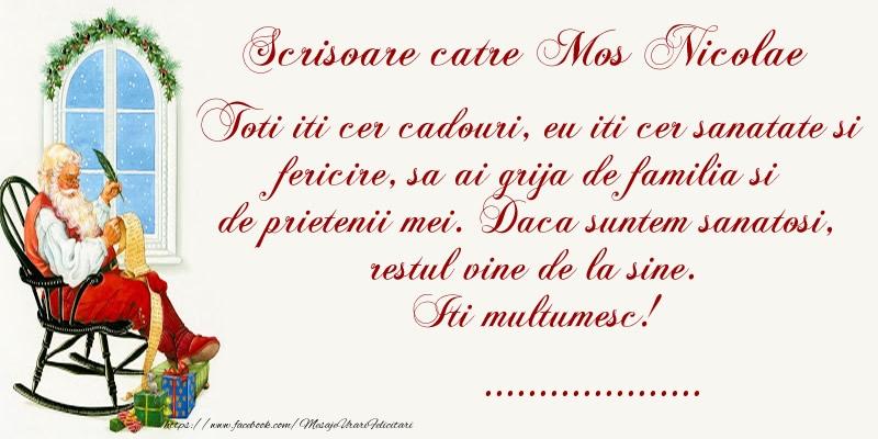 Felicitari personalizate de Mos Nicolae - Scrisoare catre Mos Nicolae! Iti Multumesc! ...