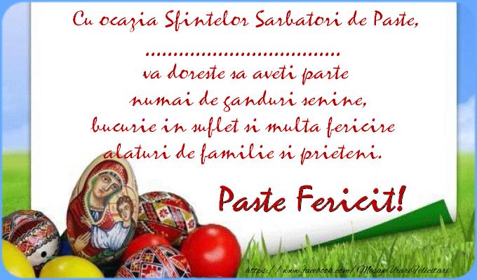 Felicitari personalizate de Paste - Cu ocazia Sfintelor Sarbatori de Paste, ... va doreste sa aveti parte numai de ganduri senine, bucurie in suflet simulta fericire alaturi de familie si prieteni. Paste Fericit!