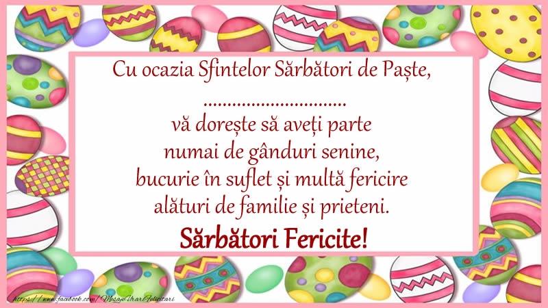 Felicitari personalizate de Paste - Sărbători Fericite de la ...!