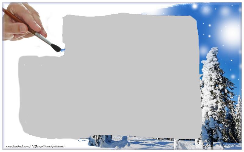Felicitari personalizate cu poza ta - Pictura cu peisaj de iarna